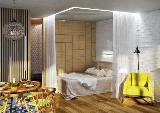 Отделение кровати занавеской