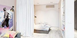 Отделение кровати шторой: примеры на фото
