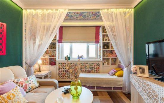 Зонирование комнаты с помощью занавесок