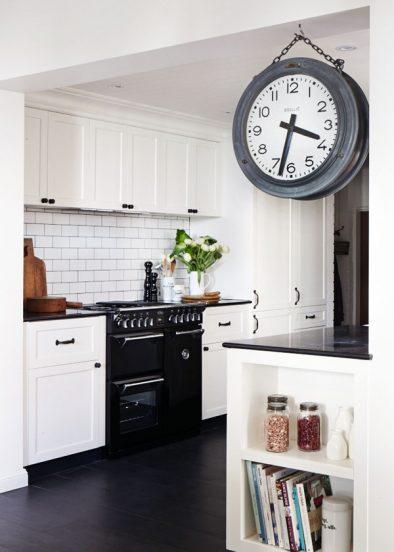 Часы в декоре кухни