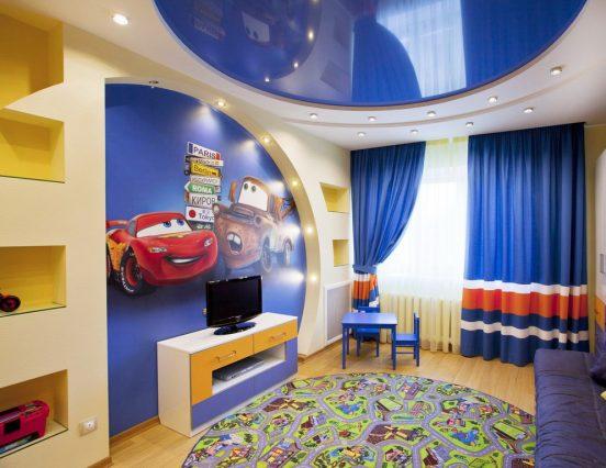 Синий двухуровневый натяжной потолок
