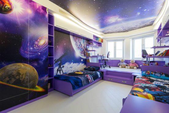 Потолок с фотопринтом космос