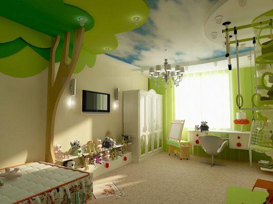 Дизайн детской в зеленых тонах леса