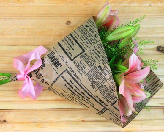 Газетная упаковка для букета