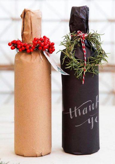 Бутылки вина в подарочных обёртках