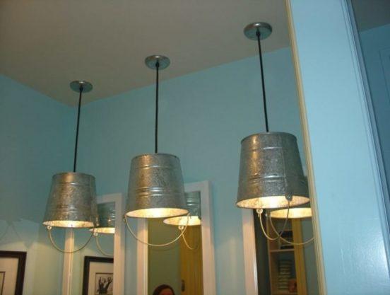 Светильники из старых вёдер