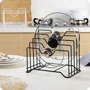 8 идей для компактного хранения крышек на кухне