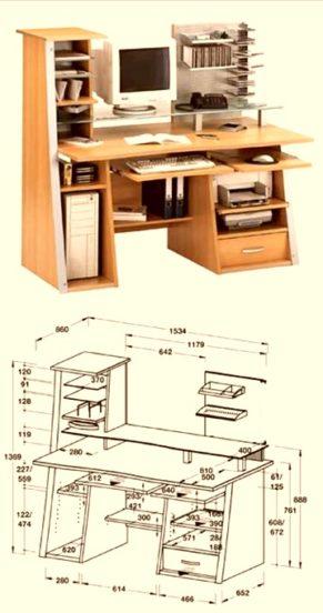 Компьютерный стол своими руками: чертежи схемы, (фотоподборка)