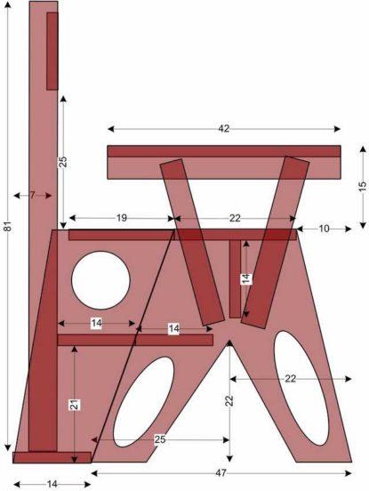 Кресло-стремянка размер деталей