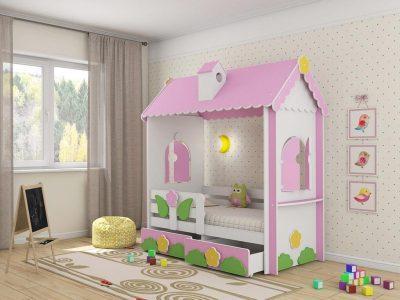 Модель кровати для девочки в виде домика