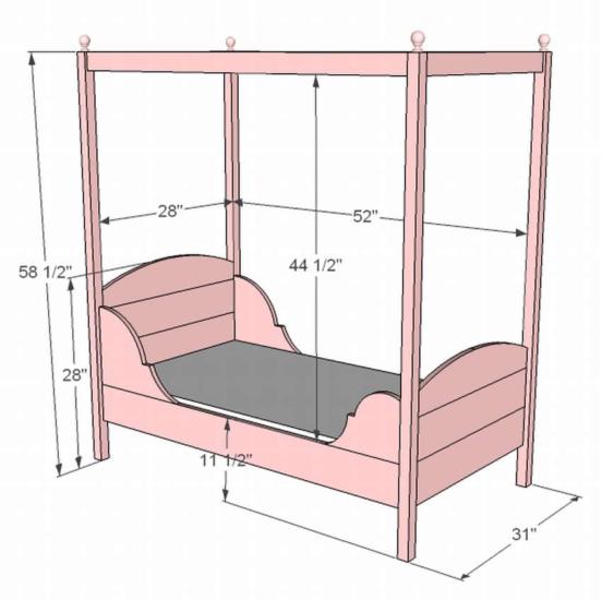 Кровать с навесом чертеж