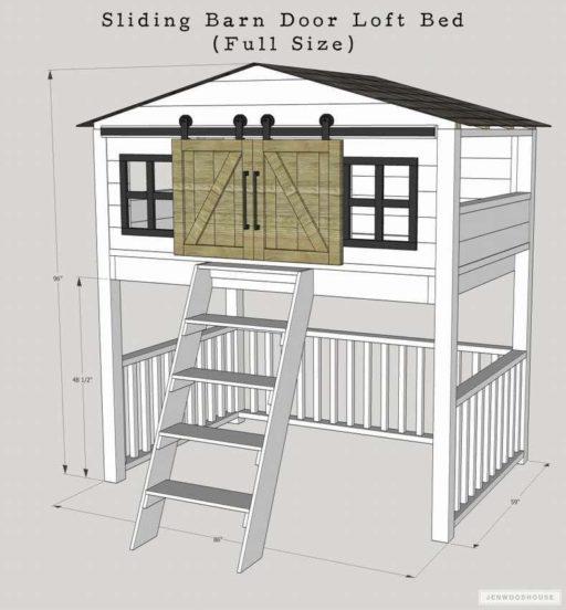 Кровать чердак-домик чертеж с размерами